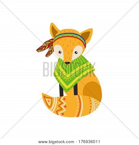 Fox Wearing Tribal Poncho Colorful Flat Isolated Icon In Cool Detailed Artistic Design Isolated On White Background