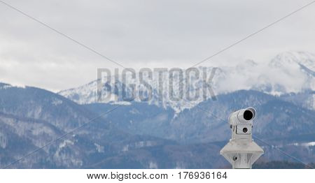 beautiful view on the mountains and spot for binoculars