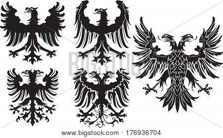 Set of heraldic black german eagles. Vector illustration