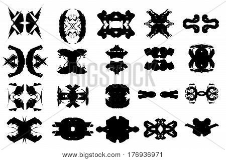 Complex black and white vector shapes set symmetrical icons outlines isolated over white background