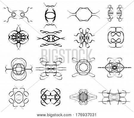 Symmetrical weave vector shapes collection isolated over white background elegant patterns vector icons