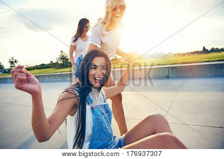 Three Young Happy Adults Having Good Time