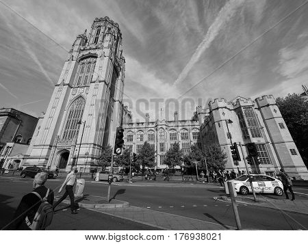 Bristol University Wills Memorial In Bristol In Black And White