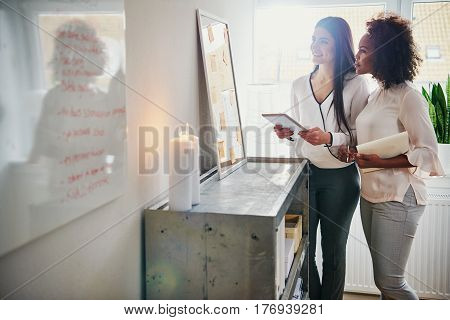 Two Businesswomen Looking At Their Memo Board