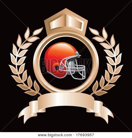 farbige Fußball Helm auf Helmkleinod
