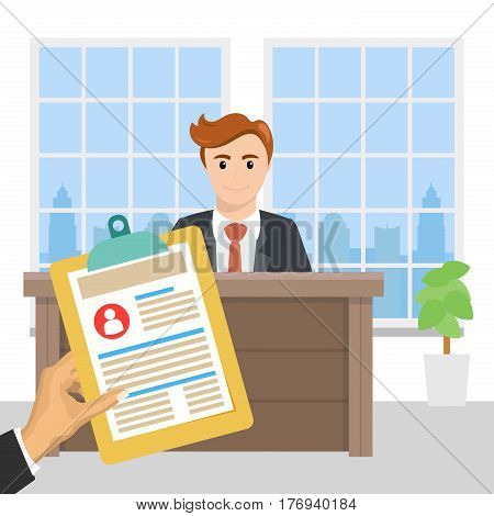 Job interview concept for the vacancy. Interview with the candidate positions. Business human resources.
