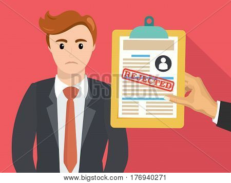 Boss hand hold rejected paper document. Job application rejected. Vector flat illustration