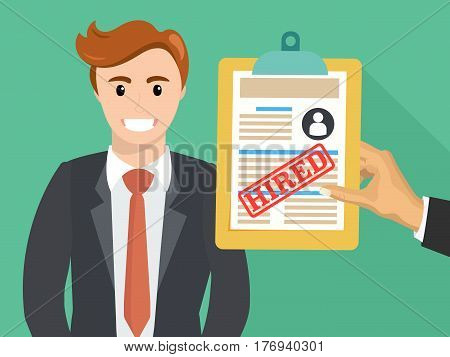 Boss hand hold accepted resume or hired paper document. Vector flat illustration