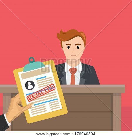Business man is not hired. Hand with a document on the refusal. Vector, illustration, flat.