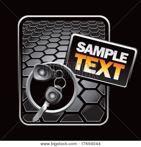 keys and keychain on hexagon racing background