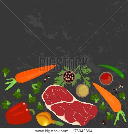 Vegetables, meat and ingredients on a dark background in a rustic style. Top view vector illustration