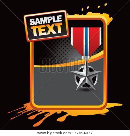 silver star medal on gold splattered template