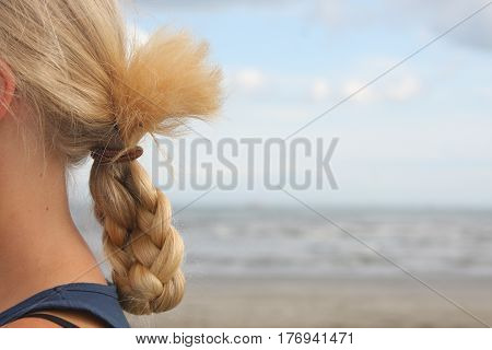 Summer, beach, sky, sea and Girl's pigtail
