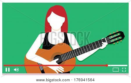 Vector Young Musician Performing On Internet Video