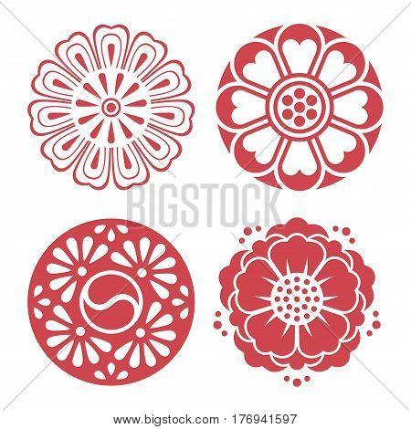 Set of vector Korean traditional design element