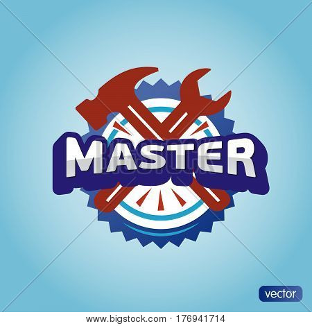 Logo Master lettering Brand symbol service mark on a light background. Vector illustration - text master, hammer and wrench. Repair of washing machines  footwear furniture.