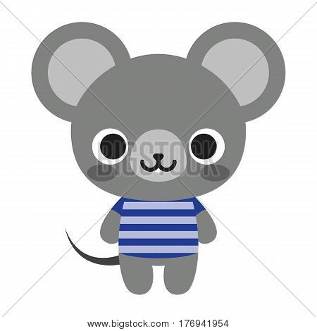 Vector Cute Happy Mouse Isolated On White Background