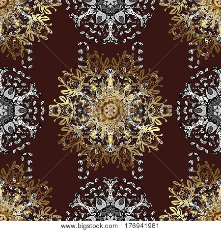 For your design sketch. Vector geometric background. Golden color seamless illustration. Golden pattern on brown background with golden elements.