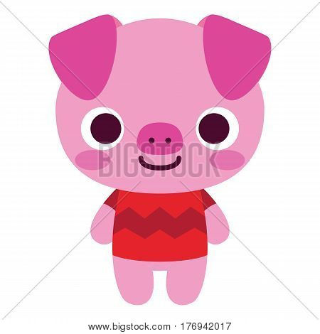 Vector Cute Happy Pig Isolated On White Background