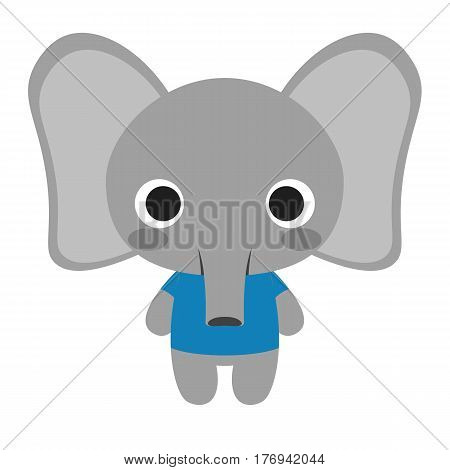 Vector Cute Elephant Isolated On White Background