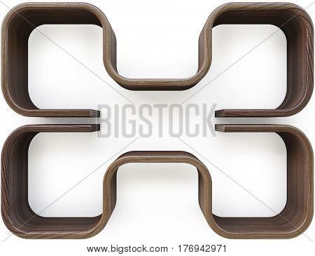 Wooden shelves isolated on white. 3D illustration.