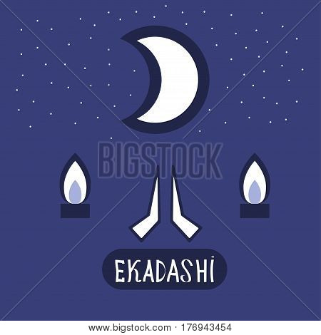 Ekadasi. the eleventh day. Hindu holiday. a shadow on a blue background. vector illustration.