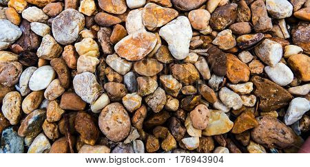 Texture: A lot of colorful stones view from above.