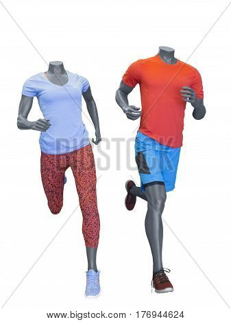 Two running mannequins isolated on a white background. No brand names or copyright objects.