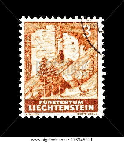 LIECHTENSTEIN - CIRCA 1937 : Cancelled postage stamp printed by Liechtenstein, that shows Landscape.