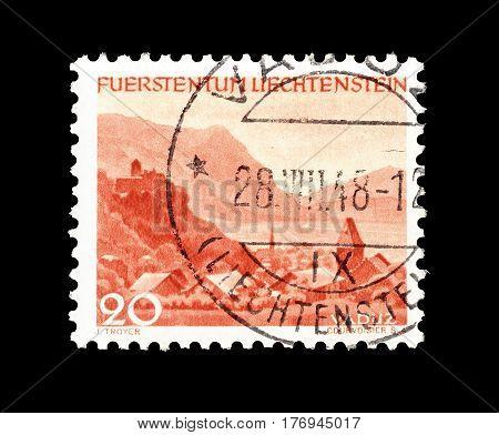 LIECHTENSTEIN - CIRCA 1944 : Cancelled postage stamp printed by Liechtenstein, that shows Vaduz.