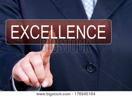 Excellence - Businesswoman with touchscreen button and text