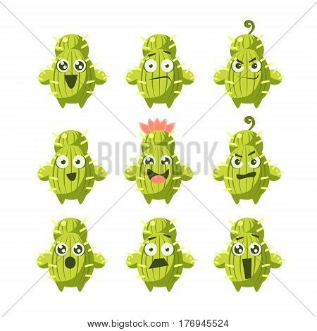 Cactus Cartoon Character Set Of Flat Isolated Funny Vector Icons In Childish Style On Purple Background