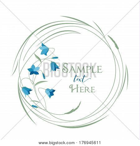 Vector illustrations floral circle with grass and blue bell flowers