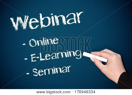 Webinar - Online E-Learning Seminar - hand with text