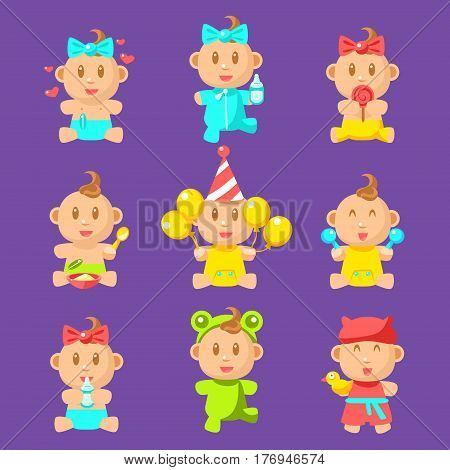 Toddlers And Babies Sticker Set Of Flat Simplified Cartoon Style Vector Icons