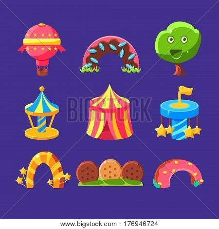 Amusement Park Elements Made Of Sweets Set Of Isolated Bright Color Childish Cartoon Style Illustrations On Blue Background