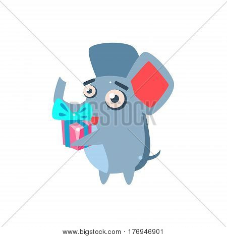 Elephant Party Animal Icon In Primitive Funny Flat Cartoon Style Isolated On White Background