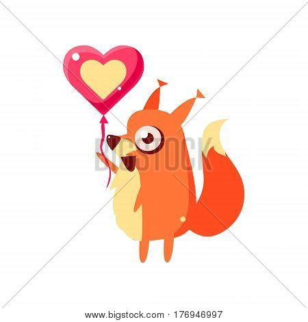 Squirrel Party Animal Icon In Primitive Funny Flat Cartoon Style Isolated On White Background