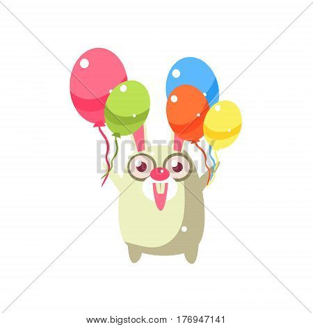 Rabbit Party Animal Icon In Primitive Funny Flat Cartoon Style Isolated On White Background
