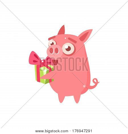 Pig Party Animal Icon In Primitive Funny Flat Cartoon Style Isolated On White Background