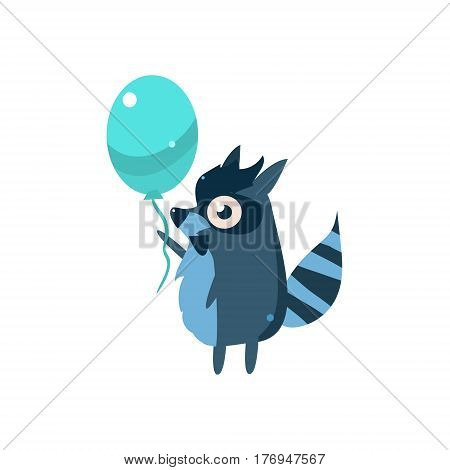 Raccoon Party Animal Icon In Primitive Funny Flat Cartoon Style Isolated On White Background