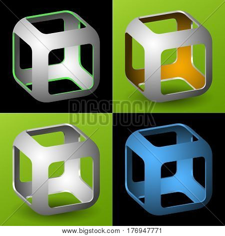set of smoothed 3D cube with openings