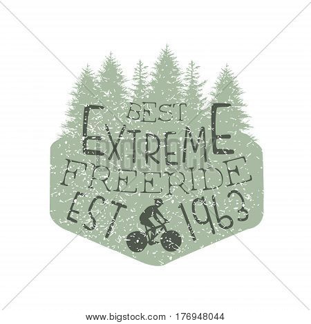Forest Silhouette Freeride Vintage Label. Black And White Freeride Club Hand Drawn Emblem. Monochrome Retro Vector Designed Stamp.