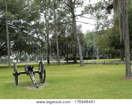 Cannon at Olustee Battlefield Historic State Park, the site of Florida's largest Civil War battle (Ocean Pond) and annual reenactment near Lake City.