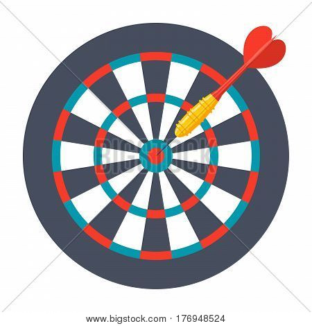 Dart in center of dartboard, vector illustration in flat design
