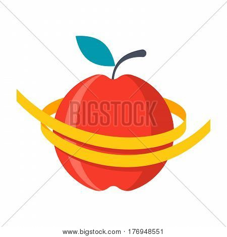 Diet concept, measuring metre round a red apple, vector illustration in flat design