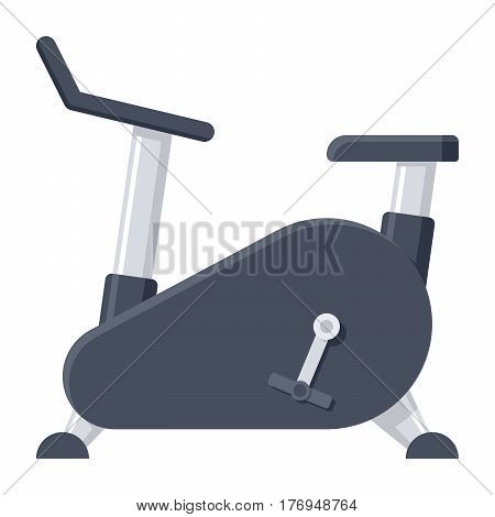 Exercise bike, fitness equipment, vector illustration in flat design