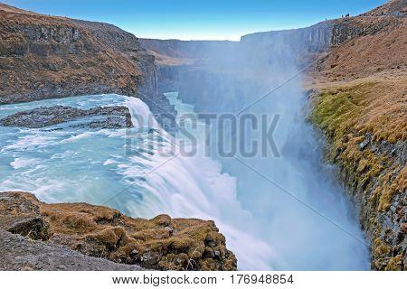 Powerfull Gullfoss Waterfalls in Iceland