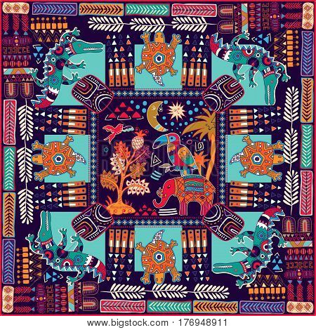 Design for shawl, card, textile. Colorful illustration with decorative animals and geometric elements. Indian motive. Fashion style.