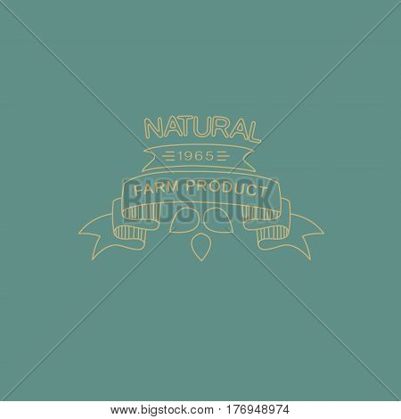 Vector label in trendy mono line style organic and natural badges for fresh farm products and food packaging of linear emblems and icons